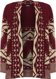 Knitted Aztec Open Long Sleeve Cardigan