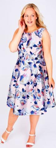 Yours Clothing , Chi Chi London Pale Pink Floral Print Sateen Party Dress