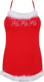 Yours Clothing , Dreamgirl Red Jersey Santa Chemise With Matching Hat