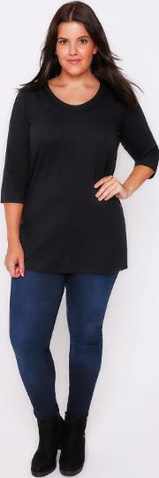 Yours Clothing , Black Band Scoop Neckline T Shirt With 34 Sleeves