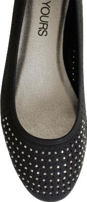 Yours Clothing , Black Comfort Insole Ballerina Pumps With Diamante Detail In Eee Fit