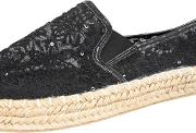 Yours Clothing , Black Floral Crochet Espadrilles In E Fit