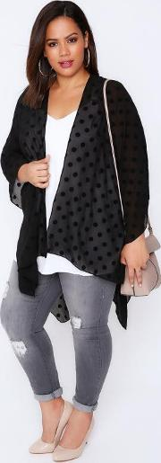 Yours Clothing , Black Polka Dot Lightweight Woven Wrap