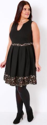 Yours Clothing , Black Skater Dress With Nude Lace Panels & Notch Neck