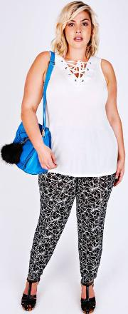 Yours Clothing , Black & White Floral Print Crepe Harems With Side Pockets