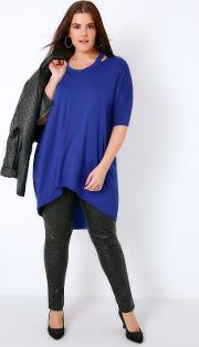 Yours Clothing , Cobalt Blue Split Neck Top With Extreme Dipped Hem