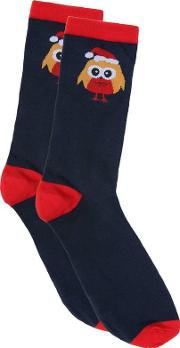 Yours Clothing , D555 Navy & Red Robin Print Christmas Socks