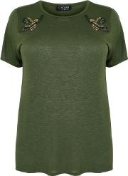 Yours Clothing , Khaki Slub Top With Side Splits & Embroidered Eagle Shoulder