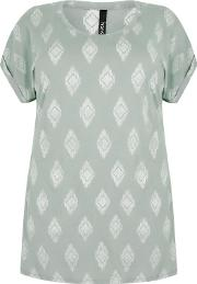 Yours Clothing , Light Green & White Diamond Print Top With Turn Back Sleeves