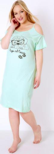 Yours Clothing , Mint Green Pugs & Kisses Print Cold Shoulder Nightdress