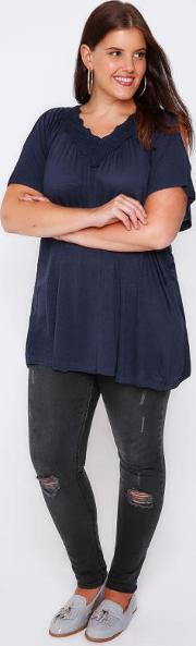 Yours Clothing , Navy Cold Shoulder Top With Lace V Neckline