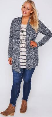 Yours Clothing , Navy Striped Feather Print 2 In 1 Cardigan Top With Long Sleeves