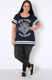 Yours Clothing , Navy & White Tiger Stripe Varsity T Shirt