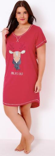 Yours Clothing , Red Brr It's Cold Reindeer Nightdress