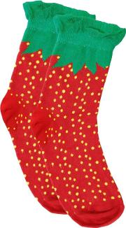 Yours Clothing , Red & Green Strawberry Print Wide Fit Socks